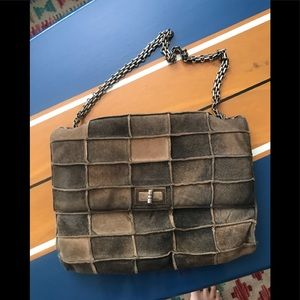Chanel patchwork suede brown shoulder bag